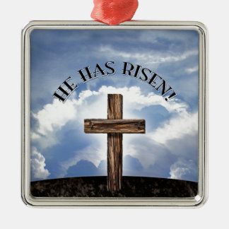 He Has Risen Rugged Cross Sky Square Metal Christmas Ornament
