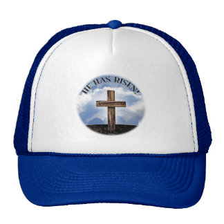 He Has Risen Rugged Cross Sky Trucker Hat
