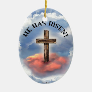 He Has Risen Rugged Cross With Clouds Ceramic Ornament