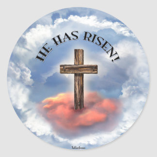 He Has Risen Rugged Cross With Clouds Classic Round Sticker