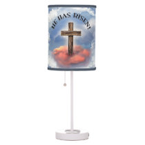 He Has Risen Rugged Cross With Clouds Desk Lamp