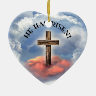 He Has Risen Rugged Cross With Clouds Double-Sided Heart Ceramic Christmas Ornament