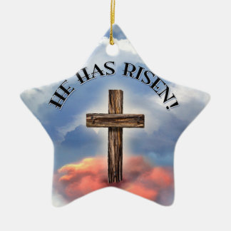 He Has Risen Rugged Cross With Clouds Double-Sided Star Ceramic Christmas Ornament