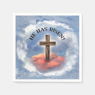 He Has Risen Rugged Cross With Clouds Paper Napkin