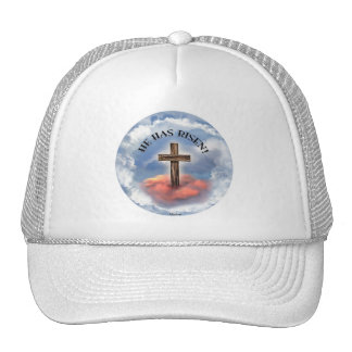 He Has Risen Rugged Cross With Clouds Trucker Hat