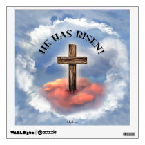 He Has Risen Rugged Cross With Clouds Wall Decal