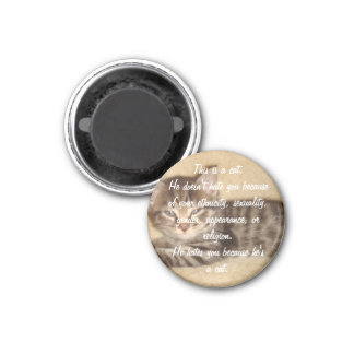 He Hates You Because He's a Cat 1 Inch Round Magnet