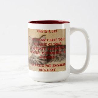 He Hates You Because He's a Cat Two-Tone Coffee Mug