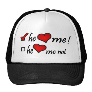 He Heart Me With Check Mark In Box & Hearts Trucker Hat