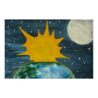 HE HUNG THE SUN AND THE MOON PRINT