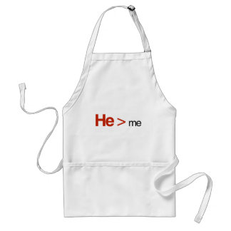 He is greater than me adult apron