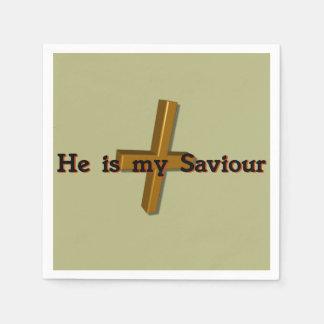 He is my Saviour (cross) Standard Cocktail Napkin