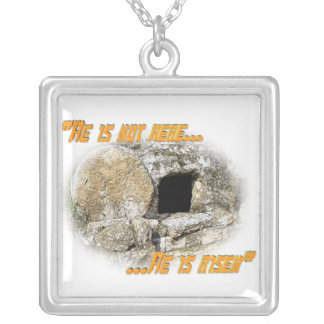 He is not here ... He is risen! Square Pendant Necklace