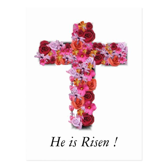 He is Risen Christian Easter Greeting Floral Cross Postcard
