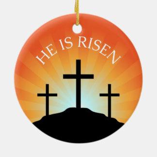 He is risen cross against sunrise Easter Double-Sided Ceramic Round Christmas Ornament