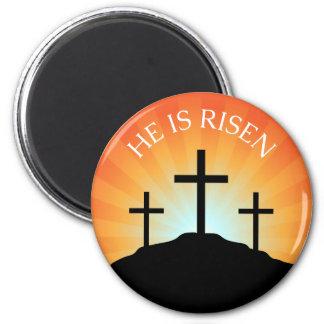 He is risen cross against sunrise Easter magnet