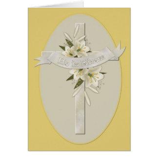 He is Risen Cross Christian Easter Greeting Card