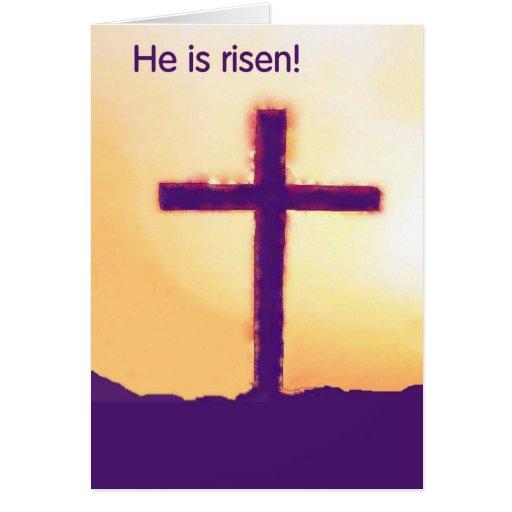 he is risen - cross greeting card