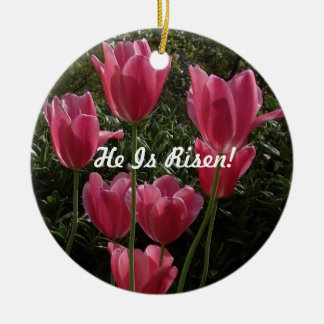 He Is Risen! Double-Sided Ceramic Round Christmas Ornament