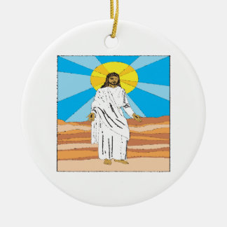 He Is Risen Double-Sided Ceramic Round Christmas Ornament