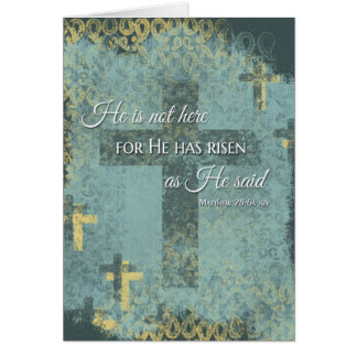 He is Risen! Easter cross & bible verse on distres Card