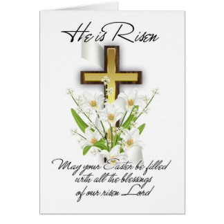 He Is Risen, Easter Greeting Card With Cross