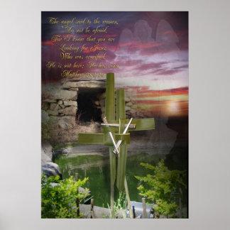 He is risen, Easter religious art Poster
