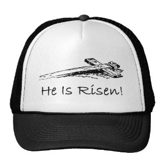 He is risen holy cross trucker hat
