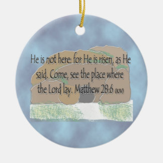 He is Risen - Matthew 28:6 Double-Sided Ceramic Round Christmas Ornament