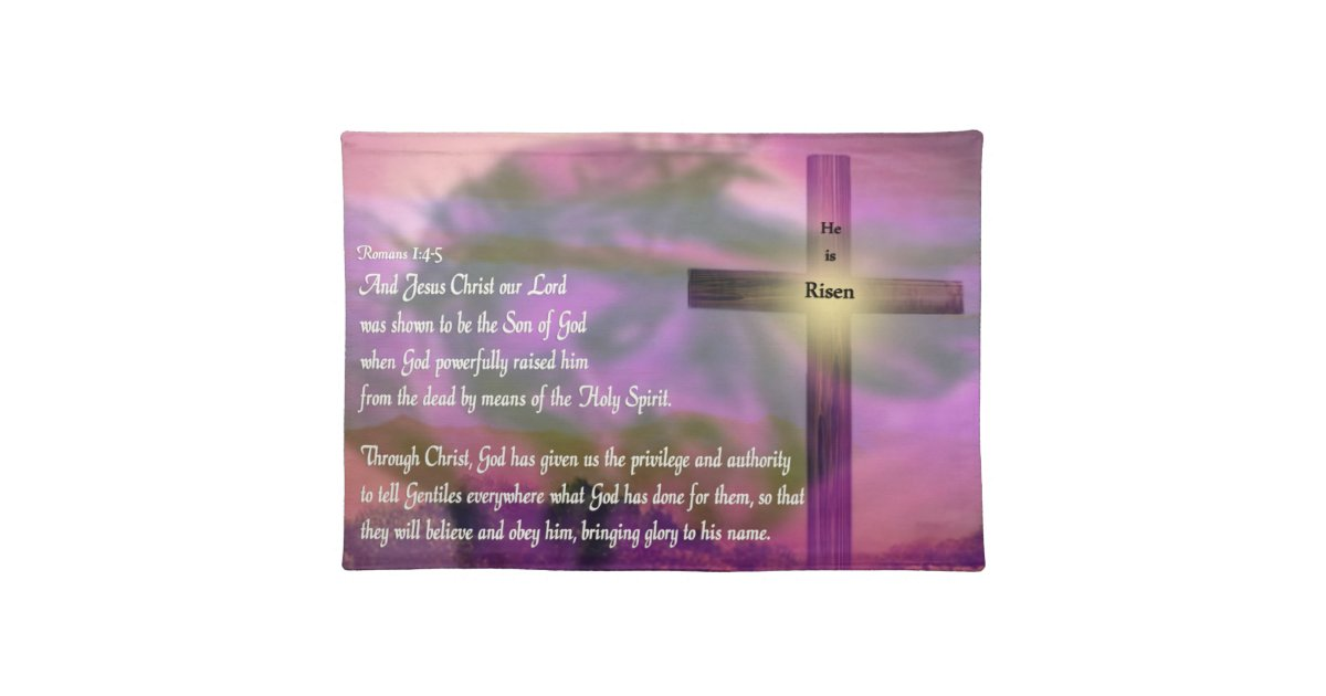 He Is Risen Religious Easter Bible Verse Placemat Zazzle
