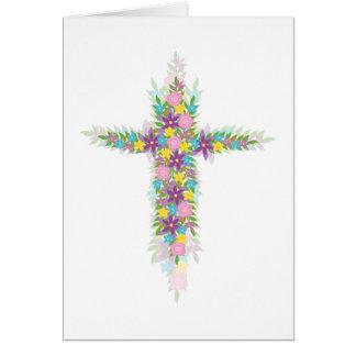 He is Risen Spring Flower Cross for Easter Card