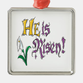 He Is Risen Square Metal Christmas Ornament