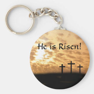He is Risen! Three Crosses and Sunset Key Chain