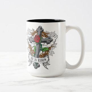 He Is Risen Two-Tone Coffee Mug