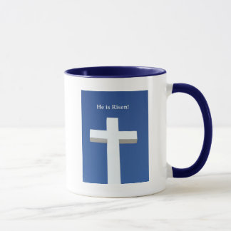 He is Risen!, White cross on Aruba Mug