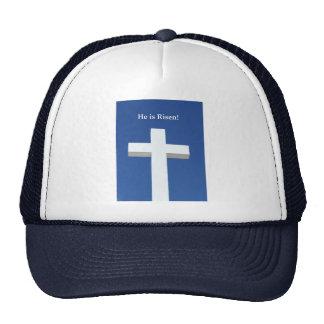 He is Risen!, White cross on Aruba Trucker Hat