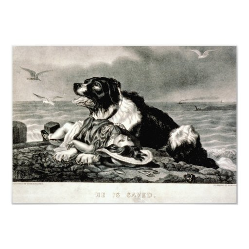 He Is Saved by Currier and Ives Rescue Dog Invite