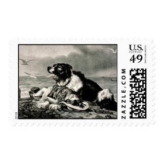 He Is Saved by Currier and Ives Rescue Dog Postage Stamps