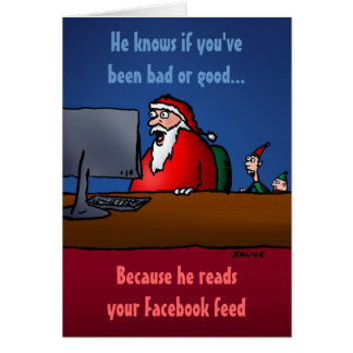 He Knows If You ve Been Bad Funny Santa Card