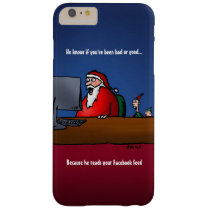 He Knows If You've Been Bad Funny Santa Barely There iPhone 6 Plus Case