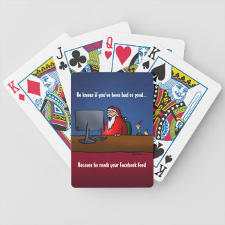 He Knows If You've Been Bad Funny Santa Bicycle Playing Cards