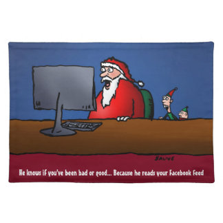 He Knows If You've Been Bad Funny Santa Cloth Placemat