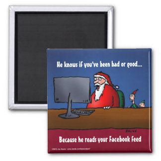 He Knows If You've Been Bad Funny Santa Fridge Magnets