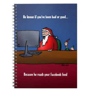 He Knows If You've Been Bad Funny Santa Spiral Notebook