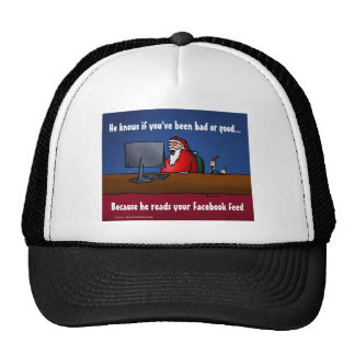 He Knows If You've Been Bad Funny Santa Trucker Hat