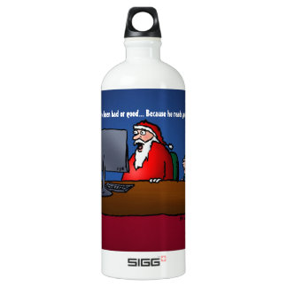 He Knows If You've Been Bad Funny Santa Water Bottle