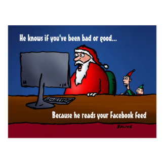 He Knows If You've Been Bad Santa Postcards
