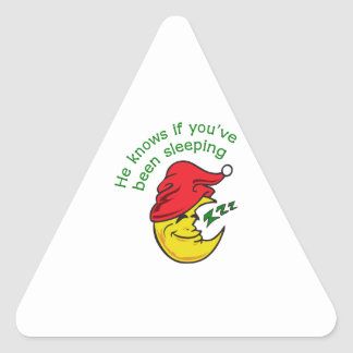 HE KNOWS IF YOUVE TRIANGLE STICKER