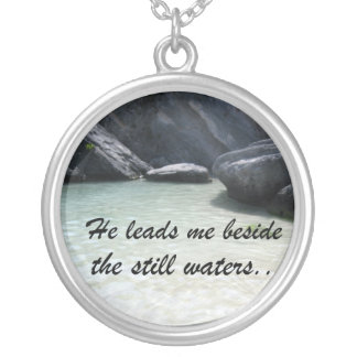 He leads me beside the still waters... silver plated necklace