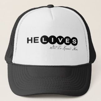 He lives Get To Know Him. He Saves Get In On This Trucker Hat